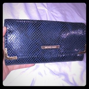 AUTH* Michael Kors Snake-Embossed-Leather Wallet